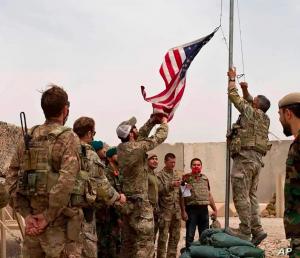 American Flag taken down, Afghanistan 2021